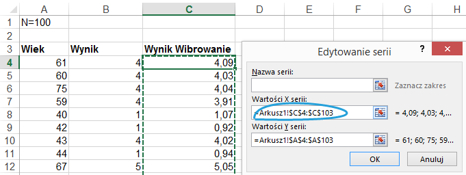 Wibrowanie jittering wykresu Excel 3