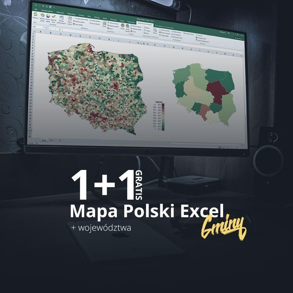 Mapa Polski Excel Gminy + Województwa