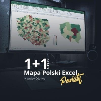 Mapa Polski Excel Powiaty + Województwa