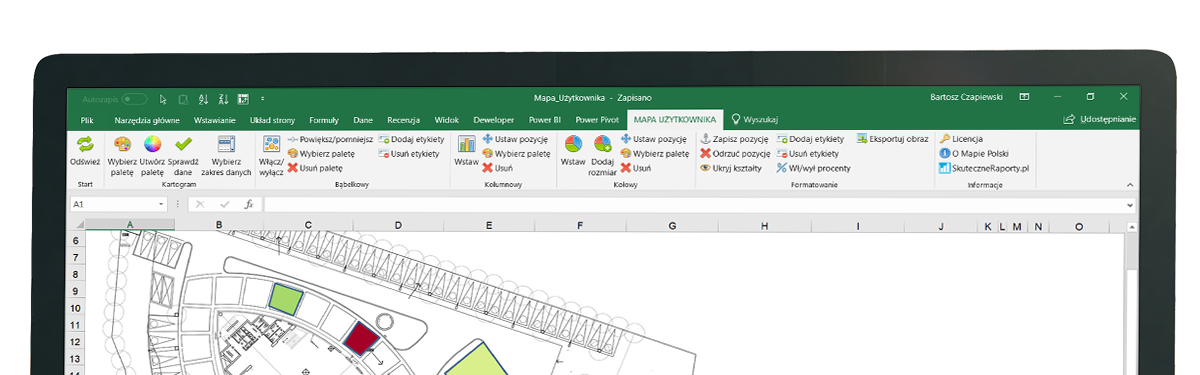woja Mapa Excel - intefejs screen